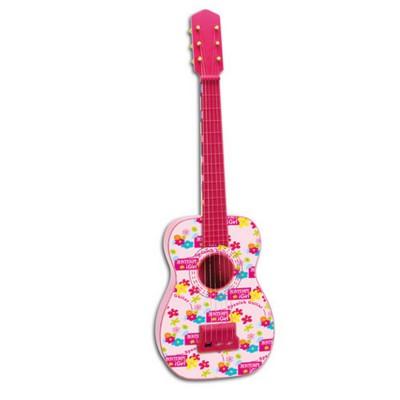 Bontempi Guitare classique plastique rose avec cordes métalliques