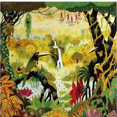 Puzzle Michèle Wilson Puzzle d'art en bois 80 pièces Michèle Wilson - Alain Thomas : Toucan à la cascade