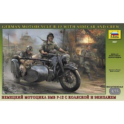 Zvezda Maquette moto bmw r-12 avec un side-car et équipage allemand