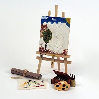 Artesania Accessoires pour maison de poupées : mobilier et accessoires : chevalet de peinture