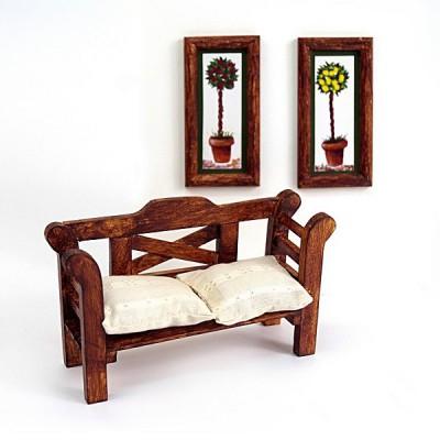 Artesania Accessoires pour maison de poupées : mobilier et accessoires : banc et tableaux