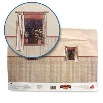 Artesania Accessoires pour maison de poupées : murs et sols : papier trompe-L'oeil avec fenêtres et lambris