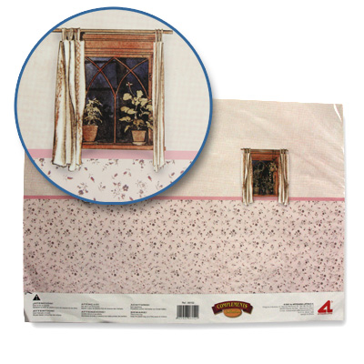 Artesania Accessoires pour maison de poupées : murs et sols : papier trompe-L'oeil avec fenêtres et tapisserie