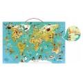 Vilac Puzzle 78 pièces magnétique en bois : Carte du monde fantastique