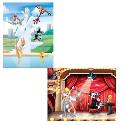 Mb Jeux puzzle 2 x 25 pièces : looney tunes, sur scène et concours de plongeon