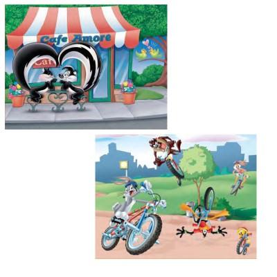 Mb Jeux puzzle 2 x 25 pièces : looney tunes, en amoureux et vtt au parc