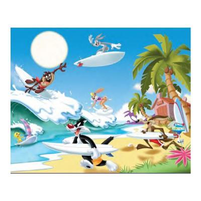 Mb Jeux puzzle 60 pièces : looney tunes, surf sur la plage