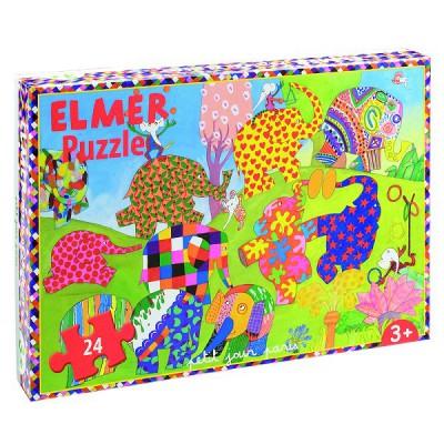 puzzle 24 pi ces elmer et ses cong n res petit jour paris magasin de jouets pour enfants. Black Bedroom Furniture Sets. Home Design Ideas