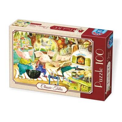 Dtoys Puzzle 100 pièces : classic tales : les trois petits cochons