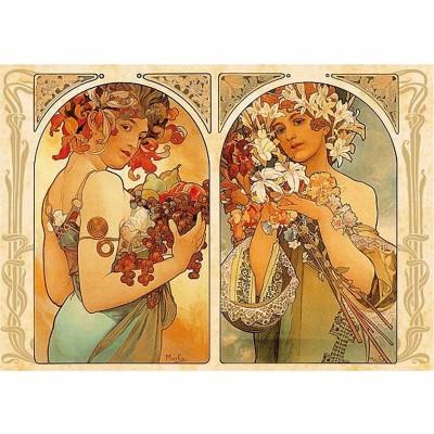 Dtoys Puzzle 1000 pièces - alphonse mucha : dyptique fruit et fleur