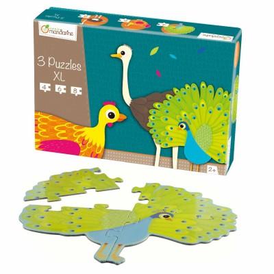 Avenue Mandarine puzzles de 4 à 8 pièces : 3 puzzles xl formes animaux à plumes