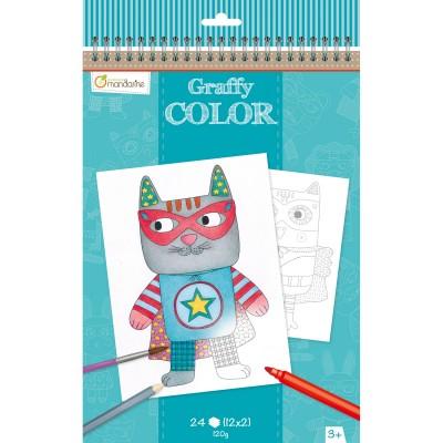 Avenue Mandarine carnet de coloriage graffy color : doudous