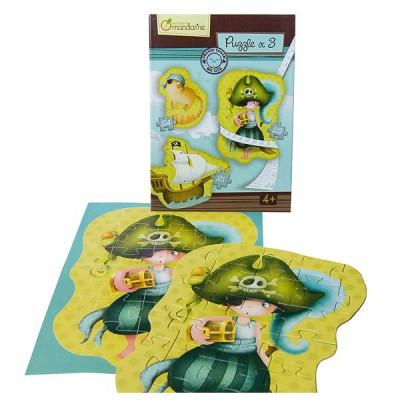 Avenue Mandarine puzzles de 21 à 28 pièces : 3 puzzles géants pirates