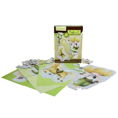 Avenue Mandarine puzzles de 22 à 33 pièces : 3 puzzles géants cowboys