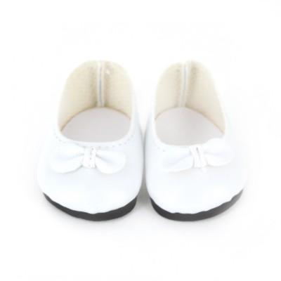Petitcollin Accessoires pour poupée de 28 cm : ballerines blanches avec noeud