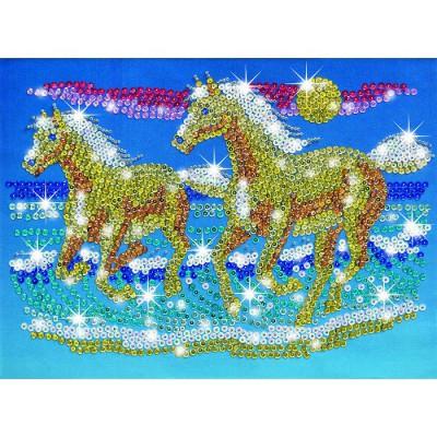Sequin Art kit paillettes art sequin et perles : chevaux sauvages