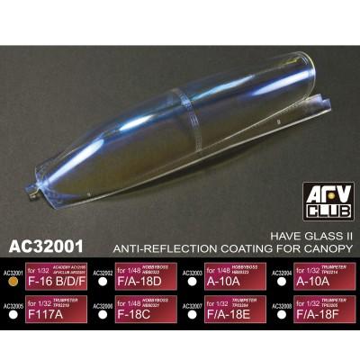 Afv Club accessoires pour vitrines : revêtement anti-Reflets : f-16 b/d/f - 1/32
