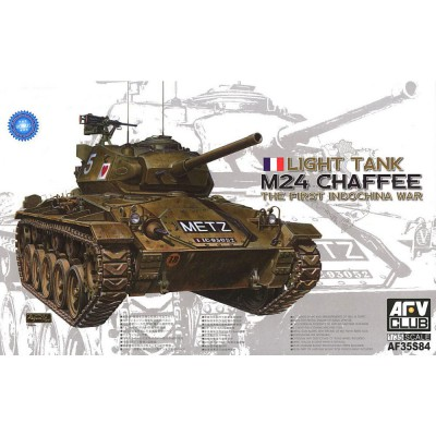 Afv Club maquette char : m-24 chaffee armée française indochine 1950 + 1 figurine