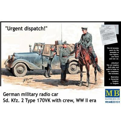 Master Box ensemble véhicule radio et figurines : message urgent armée allemande front de l'est