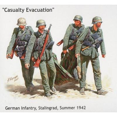 Master Box figurines 2ème guerre mondiale : infanterie allemande: evacuation d'un blessé : stalingrad automne