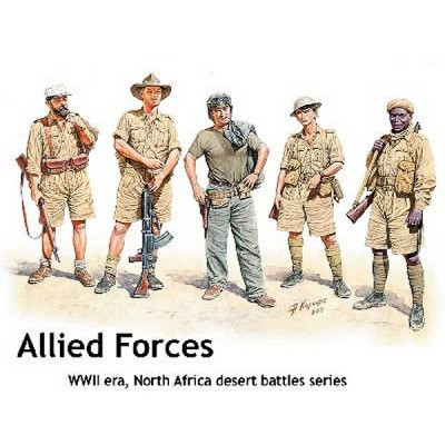 Master Box figurines 2ème guerre mondiale : ensemble troupes alliées en afrique du nord 1941-1943
