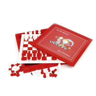Smir Coffret dames et échecs en bois acidulé