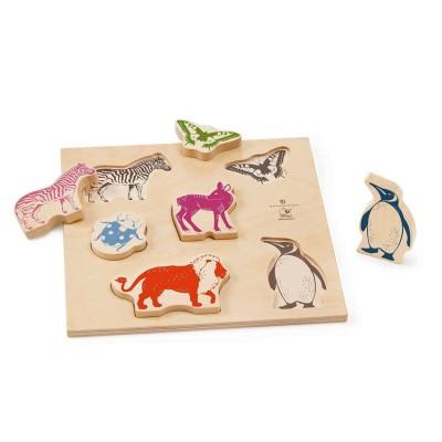 Bellybutton by selecta encastrement 6 pièces en bois : animaux colorés