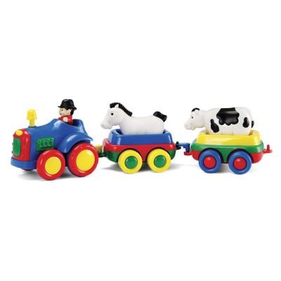 Bébé Découvertes tracteur à friction bleu et 2 animaux