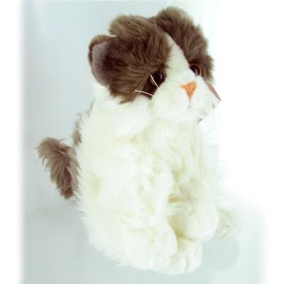 Soft Friends peluche chat 23 cm : blanc et gris
