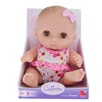 Calinou Poupée 22 cm : poupée blanche aux yeux marrons
