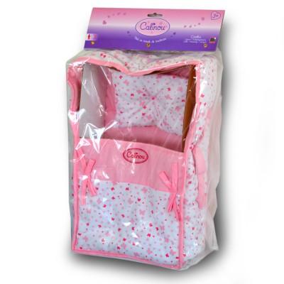 Calinou Couffin en tissu pour poupée de 30 à 42 cm : rose