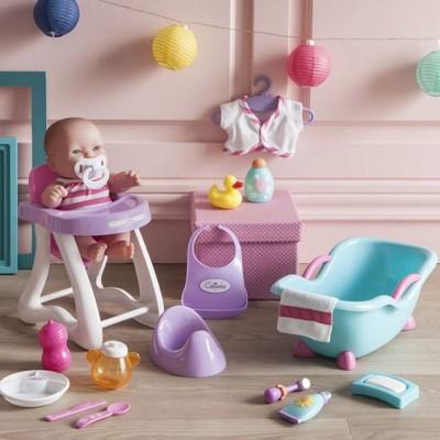 Calinou Coffret poupée Lil 25 cm : Le repas et le bain de bébé