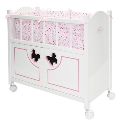 Calinou Accessoire pour poupée : lit en bois avec armoire