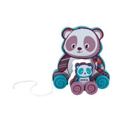 Okoïa Jouet à tirer : panda et son bébé à roulettes