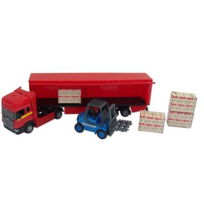 John World camion et chariot : semi remorque rouge cargaison