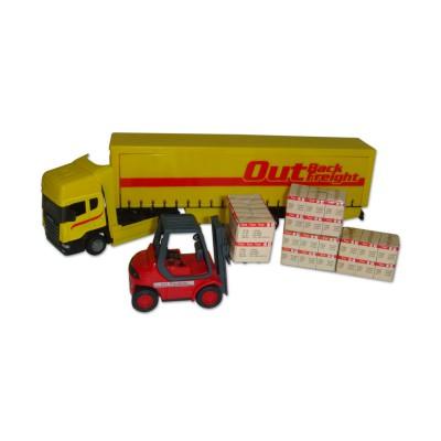 John World camion et chariot : semi remorque jaune cargaison