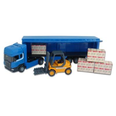 John World camion et chariot : semi remorque bleu cargaison