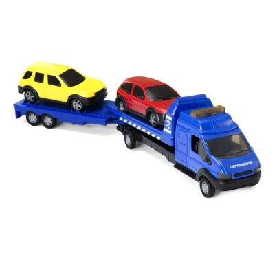 John World camion dépanneuse double remorque : bleu