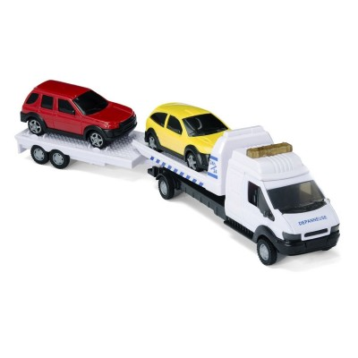 John World camion dépanneuse double remorque : blanc
