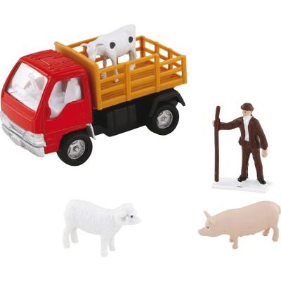 John World camion et fermier avec animaux