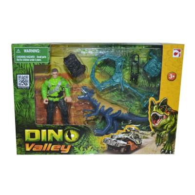 Chap Mei coffret dino valley : dinosaure bleu et figurine explorateur