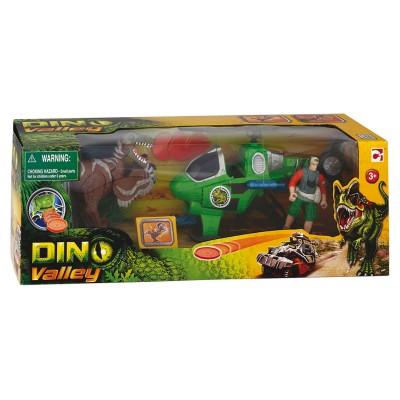 Chap Mei coffret dino valley : dinosaure, figurine et véhicule : hélicoptère