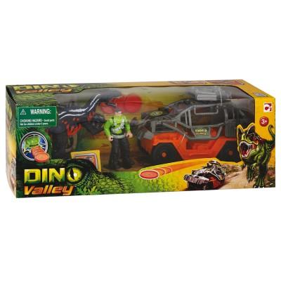 Chap Mei coffret dino valley : dinosaure, figurine et véhicule : jeep