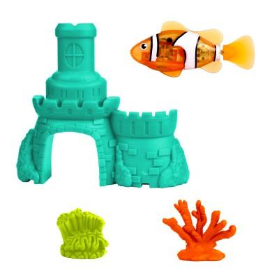 Splash Toys Jouet pour le bain : Robo fish avec château : Poisson clown et château bleu. Jouet pour le bain : Robo fish avec château