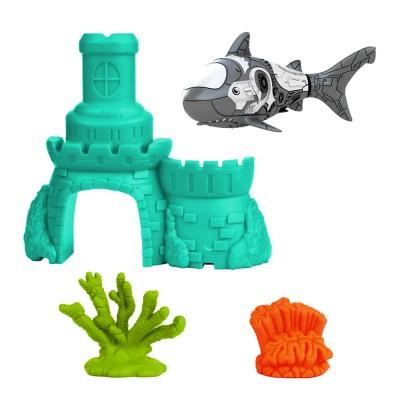 Splash Toys Jouet pour le bain : Robo fish avec château : Requin gris et château bleu