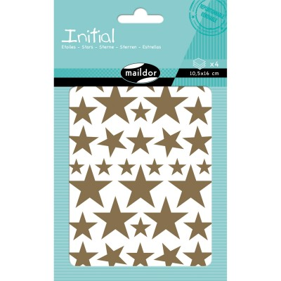 Maildor Stickers initial 4 planches : etoiles : or et argent