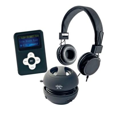 Delta Casque arceau noir + Lecteur MP3 noir 4 GO + Mini haut-parleur noir