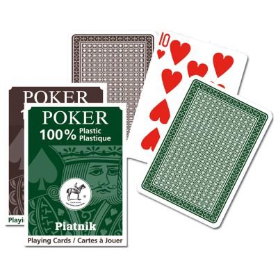Piatnik Jeu de cartes de Poker en plastique : Marron