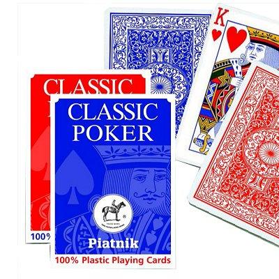 Piatnik Jeu de 55 cartes Classic Poker Plastic : Bleu