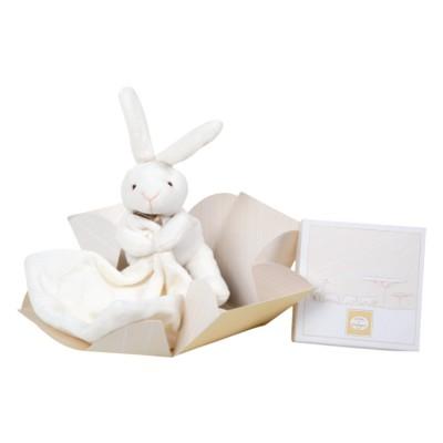Doudou et Compagnie Doudou naturel : Lapin mouchoir en boîte fleur